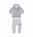 grey hoodie and joggers